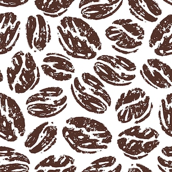 Seamless pattern of coffee beans in doodle sketch design