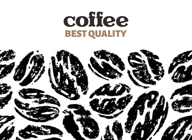 Seamless pattern of coffee beans in doodle sketch