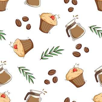 Seamless pattern of coffee container with cupcake