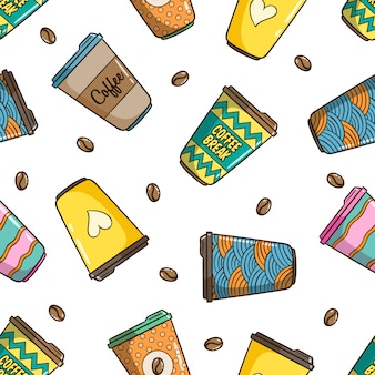 Seamless pattern of coffee cup with cute colorful doodle style