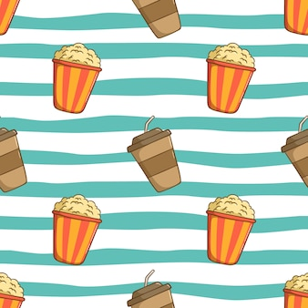 Seamless pattern of coffee cup with popcorn and using colored doodle style