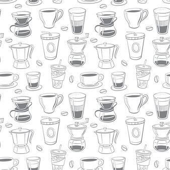 Seamless pattern of coffee doodle