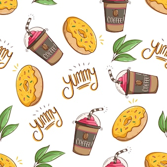 Seamless pattern of coffee milkshake and tasty dessert with doodle style