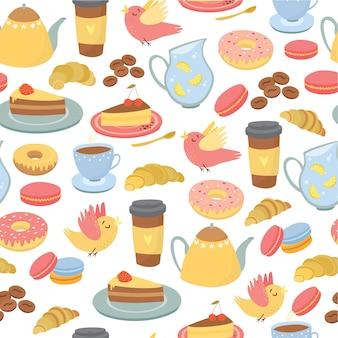 シームレスパターン、コーヒーモチーフ、お茶、お菓子、パン屋の包装
