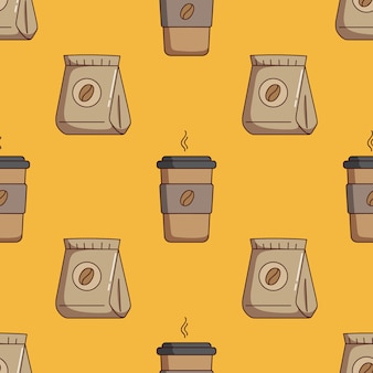 Seamless pattern of coffee paper cup and coffee bag with doodle style Premium Vector