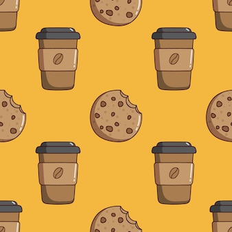 Seamless pattern of coffee paper cup and cookies with doodle style