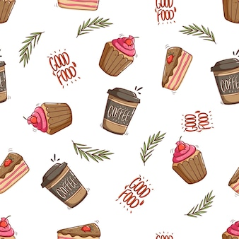 Seamless pattern of coffee paper cup and cupcake with doodle style