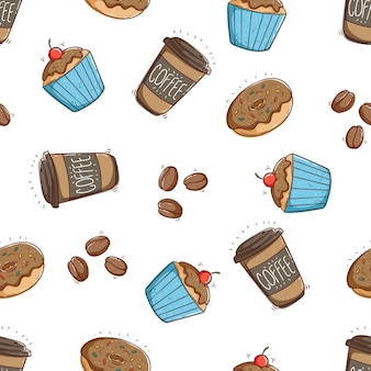 Seamless pattern of coffee paper cup dessert and cupcake with doodle style