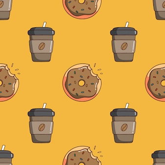 Seamless pattern of coffee paper cup and dessert with doodle style