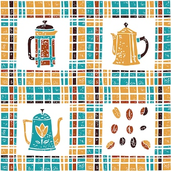 Seamless pattern coffee pots and plaid