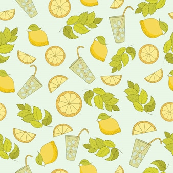 Seamless pattern of cold cocktail with lemon and mint leaves