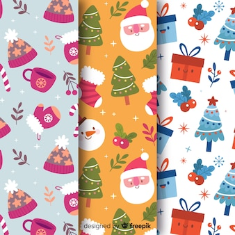 Seamless pattern collection for christmas wrapping
