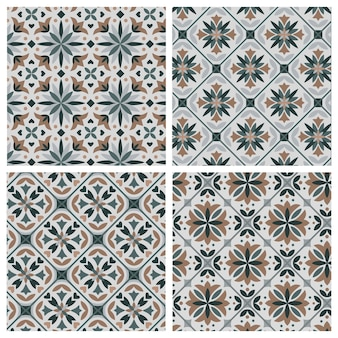 Seamless pattern collection in retro style with stylized flowers.