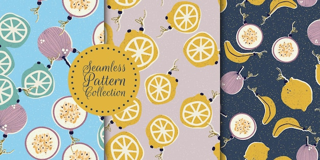 Seamless pattern collection with fruits