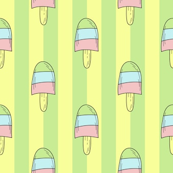 Seamless pattern of color hand drawn ice cream for design. endless pattern on green striped background for print, textile, packaging, menu
