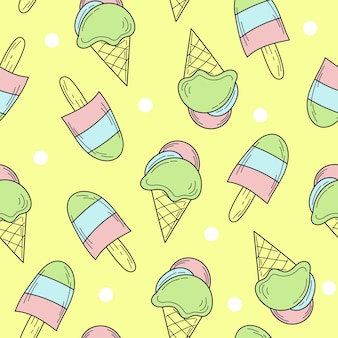 Seamless pattern of color hand drawn ice cream for design