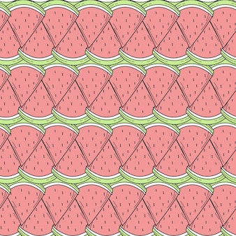 Seamless pattern of color hand drawn watermelons for design