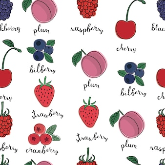 Seamless pattern of color illustrations of different kinds of berries with inking and lettering name in english on white isolated background