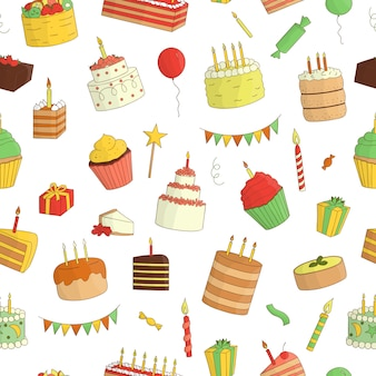 Seamless pattern of colored cakes with candles. birthday repeat backdrop. colorful repeat texture of sweet bakery goods. bright drawing of birthday cakes, candies, balloons, presents, confetti