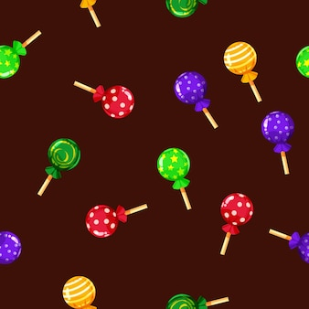 Seamless pattern colored candy lollipop, caramel on stick.