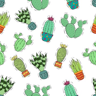 Seamless pattern of colored cute doodle cactus