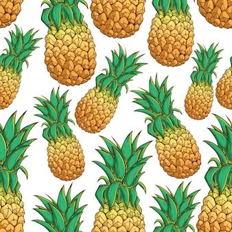 シームレスなパターンは、白い背景にエキゾチックなパイナップルを着色