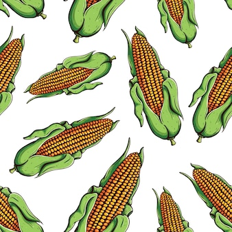 Seamless pattern of colored ripe corn on the cob with doodle or hand drawn style