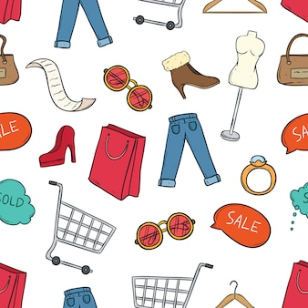 Seamless pattern of colored shopping time elements with doodle art