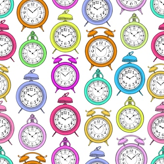 Seamless pattern of colored vintage clock
