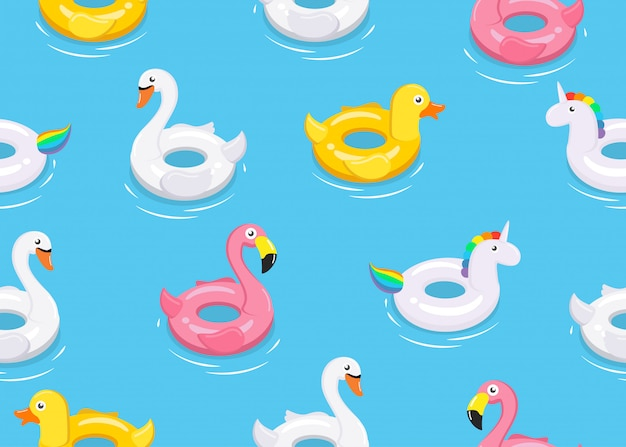Seamless pattern of colorful animals floats
