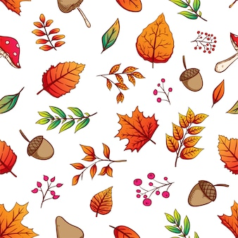 Seamless pattern of colorful autumn leaves with hand drawn style