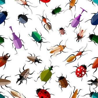 Seamless pattern of colorful bugs  illustration on white background website page and mobile app