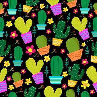 Seamless pattern colorful cactus and flower