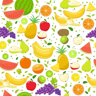 Seamless pattern of colorful cartoon fruits