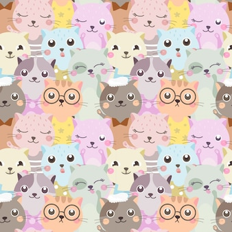 Seamless pattern colorful cat