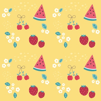 Seamless pattern colorful cherry,strawberry and watermelon on yellow