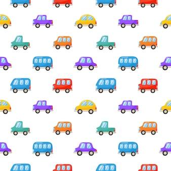シームレスパターン白で隔離カラフルなかわいい車漫画スタイル。