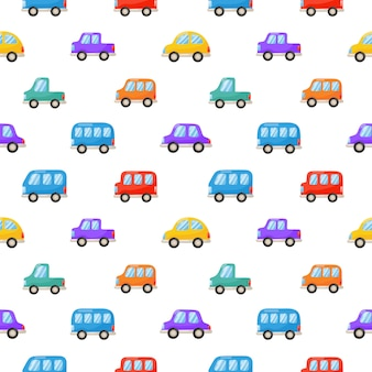 Seamless pattern colorful cute car cartoon style isolated on white .