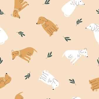 Бесшовный образец. красочные милые собаки на светлом фоне. векторные иллюстрации