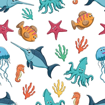 Seamless pattern of colorful cute fish or sea animal on white background