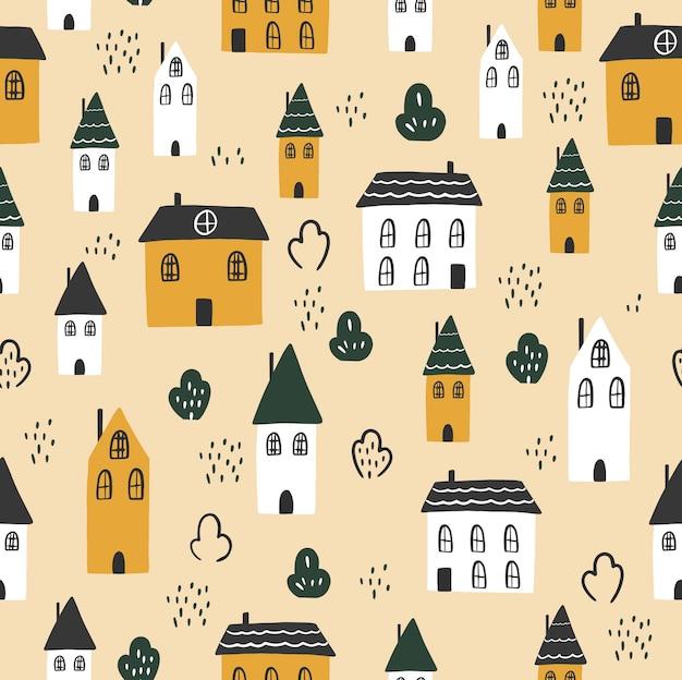 원활한 패턴 밝은 배경에 화려한 귀여운 집입니다. 벡터 일러스트 레이 션