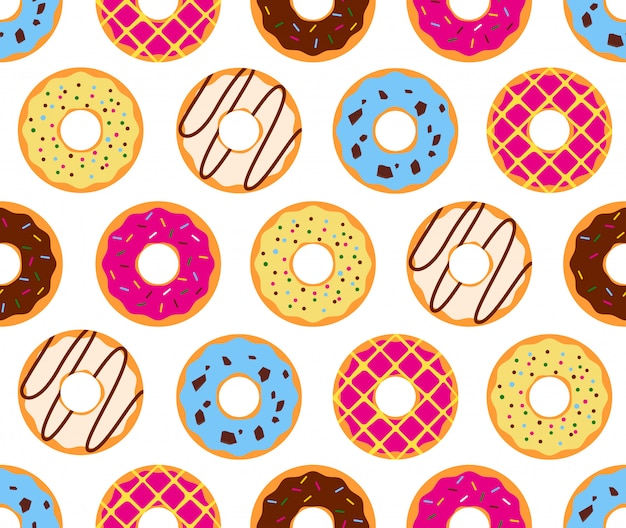 Seamless pattern of colorful donuts