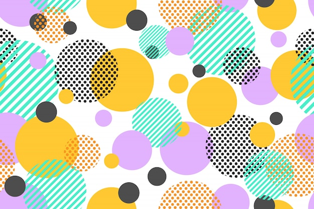 Seamless pattern of colorful dots and geometric circle