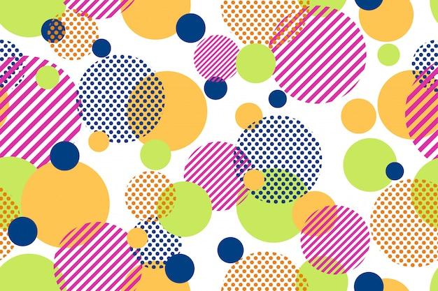 Seamless pattern of colorful dots and geometric circle