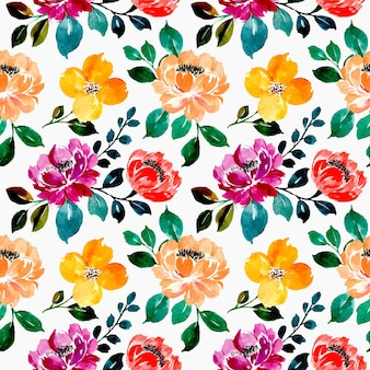 Seamless pattern of colorful floral watercolor on black bacground