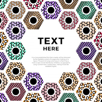Seamless pattern colorful geometric hexagon frame abstract background