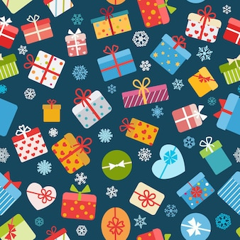 Seamless pattern of colorful gift boxes on blue background