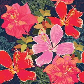Seamless pattern colorful hibiscus flowers background.