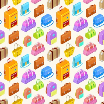Seamless pattern of colorful isometric bags ans suitcases.illustration.