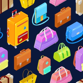 Seamless pattern of colorful isometric bags and suitcases